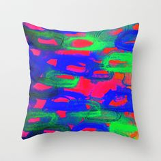 NIGHT LIFE - Bold Neon Abstract Watercolor Painting Wild Hot Pink Royal Blue Whimsical Pattern Throw Pillow by EbiEmporium - $20.00
