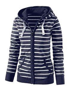 22c617da61da Hoodies Sweatshirts Women S Fashion Hooded Stripes Casual Zipper Hoodies  Pocket Women Sweatshirt Plus Size    This is an AliExpress affiliate pin.