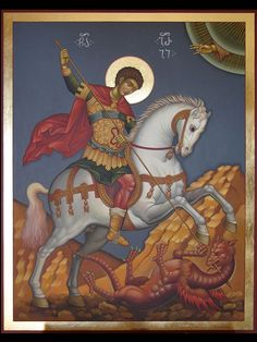 St.Giorgi Religious Icons, Religious Art, Dragon Icon, Saint George And The Dragon, Paint Icon, Master Of Fine Arts, Byzantine Art, Horse Drawings, Orthodox Icons