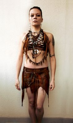 Dream Warriors brown leather crisscross halter top /harness /breastplate. Braids & fringe. Pagan tribal shaman druid elf larp cosplay