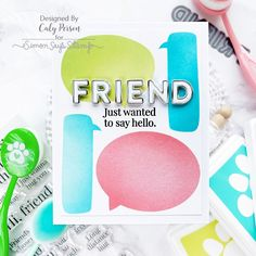 Card Kit Reveal and Inspiration: So Talkative! - Simon Says Stamp Blog Hug You, Simon Says Stamp Blog, Friend Cards, Cards For Friends, Stencil Art, Stenciling, Card Kit, Long Distance, Sayings