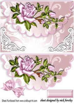Pink roses on scalloped envelope with bow on Craftsuprint - Add To Basket!