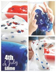 July Slime recipe for making homemade slime. Patriotic slime with red white and blue colors! Also can be used for Memorial Day kids activities. Make slime with our homemade slime recipes. Fun patriotic activities for kids. Summer Crafts, Summer Fun, Summer School, Kids Crafts, Preschool Crafts, Summer Themes, Holiday Crafts, Summer Ideas, Summer Slide