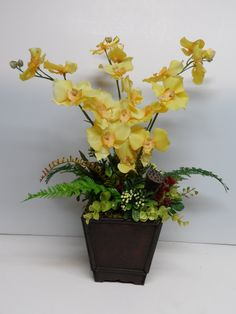 Orchid Arrangement, Elegant Orchid Arrangement, Yellow Orchid Arrangement, Orchid Floral Arrangement, Elegant Table Arrangement, Orchids by BeautifulHomeAccents on Etsy