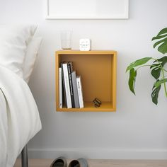EKET Wall-mounted shelving unit - golden brown - IKEA - wall mounted nightstand without door Ikea Eket, Flexible Furniture, Personal Storage, Wall Mounted Shelves, Ikea Wall Shelves, New Furniture, Armoire, Shelving, Golden Brown