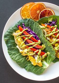 Curried Chicken Collard Tacos