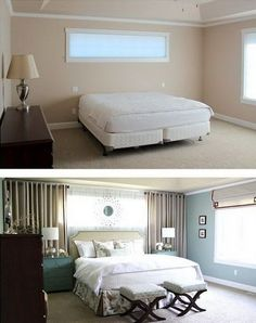 Curtains around bed, mirrors above long dresser, wall colors Master Bedroom ~ Reveal! Curtains around bed, mirrors above long dresser, wall colors Small Master Bedroom, Home Bedroom, Bedroom Decor, Small Bedrooms, Bedroom Furniture, Bedroom Wall, Furniture Makeover, Gray Bedroom, Master Closet