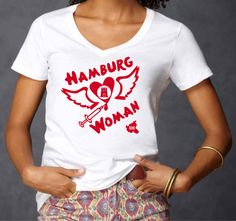 INDIVIDUELLES HAMBURG WOMAN EDLES LADIES SEXY DEEP V-NECK T-SHIRT!