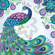 Floral Peacock - Birds Canvas Wall Art   Oopsy daisy