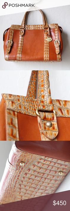 """🛑SOLD! Authentic Brahmin Crocodile Skin Satchel Vintage Real Brahmin Crocodile Satchel. Very clean on the inside, material seems to be close to crushed velvet. Leather is still very good on the outside with minimal blemishes/scratches (2 that I can see). L 12"""" x H 8.5"""" x W 5.5"""". No dust bag or authenticity card, but purse is immaculate. Brahmin Bags Satchels"""