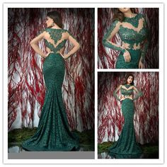 Fashionable Mermaid scoop lace prom dresses Sexy summer dress 2014 long Evening Gown dress to party long sleeve FSL-172 $155.99