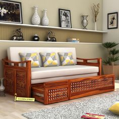 Use it as a sofa in the day and change it to bed at night. Explore more options of such comfortable #SofaCumBeds at http://www.woodenstreet.com/  #Woodenstreet