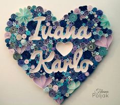 Quilled heart, quilled letters, quilled names, gift for wedding, blue, purple quilling, quilling by Tihana Poljak