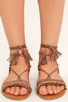 0169f0e77809 Dharma Taupe Suede Studded Lace-Up Sandals