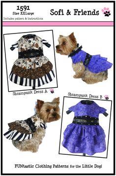 FLASH SALE Steampunk Dog Dress Pattern 1591 by SofiandFriends