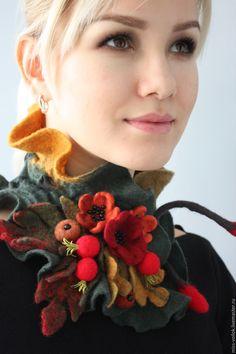 """Купить Шарф из шерсти """"Осенняя палитра"""" (валяние) - бордовый, цветочный, подарок, украшение, ручная работа"""