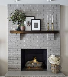 Modern Rustic Painted Brick Fireplaces Ideas 26 - June 15 2019 at Grey Fireplace, Fireplace Update, Paint Fireplace, Brick Fireplace Makeover, Home Fireplace, Living Room With Fireplace, Fireplace Design, Fireplace Mantels, Paint Brick