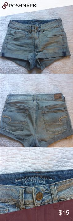 Size 4 American Eagle mid rise shorts American Eagle mid rise light wash shorts. Worn a handful of times. American Eagle Outfitters Shorts Jean Shorts