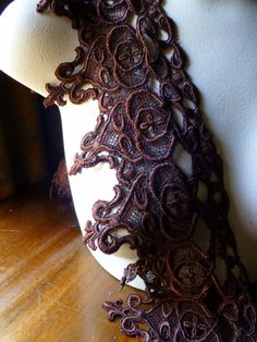 Chocolate Brown Venise Lace Trim for Garments by MaryNotMartha