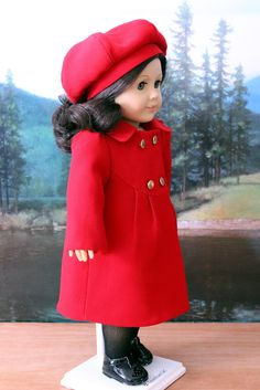 Red Wool Coat and Hat for American Girl Doll. $69.00, via Etsy.