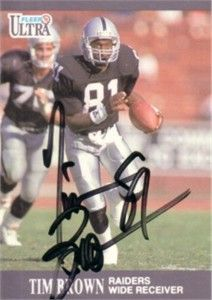 tim brown football cards | Tim Brown autographed Oakland Raiders 1991 Ultra card