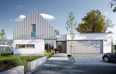 Modern 1 - visualization 1 - Designs of modern homes Modern Barn House, Modern Bungalow, House Cladding, Facade House, Residential Architecture, Modern Architecture, Gable House, Contemporary Barn, Rural House