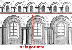 stringcourse: A continuous projecting horizontal band set in the surface of a wall and usually molded.