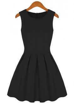black peplum round neck sleeveless cotton blend dress