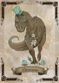 Alicesaurus steamPUNk dinosaur art print 5x7 by theGorgonist