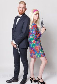Pin for Later: halloween costumes. James Bond - Creative Vintage-Inspired Halloween Costumes to Try This Year - Photos. Halloween Tags, 60s Halloween Costumes, 60s Costume, Couples Halloween, Unique Couple Halloween Costumes, Diy Couples Costumes, Hallowen Costume, Group Costumes, Diy Costumes