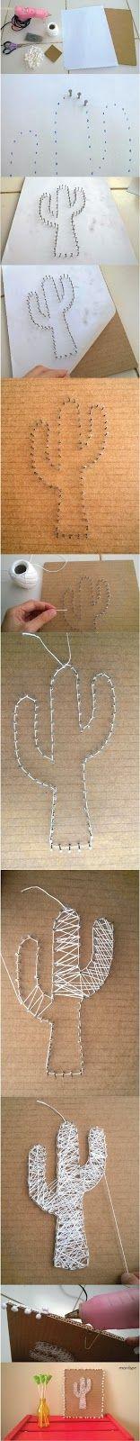 Faça você mesmo: quadro de string art com papelão  #artesanato #decoração #papelao #reciclagem #stringart #linha #decor #cacto #diy #tutorial #façavocêmesmo #quadro #dica #ideia #pap #reaproveite #marrispe