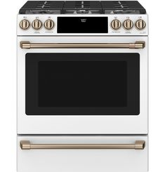 Buy the Cafe Matte White / Brushed Bronze Direct. Shop for the Cafe Matte White / Brushed Bronze 30 Inch Wide Cu. Slide In Electric Induction Range with Convection and Warming Drawer and save. Oven Cleaning, Steam Cleaning, Cooking Appliances, Kitchen Appliances, Kitchens, Kitchen Ranges, White Appliances, Kitchen Stove, Kitchen Reno