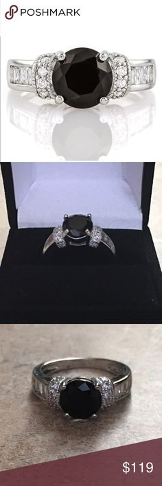 BLACK AS NIGHT STUNNING BLACK AND WHITE SAPPHIRE RING 2.2 TCW ROUND CUT BLACK SAPPHIRE CENTER MEASURES APPROX 9MM THE ROUND AND BAGUETTE ACCENTS EMBELLISH THIS PIECE OFF! THESE BEAUTIES ARE SET IN HIGH QUALITY 18K WHITE GOLD FILLED ABD WEIGHS APPROX 3 GRAMS! HUGE SALE! THIS RETAILS AT $329 SIZE 7 includes black velvet gift box Jewelry Rings