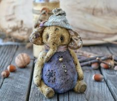 "OOAK Friend teddy bear elephant ""Starry"", artist elephant, stuffed elephant, teddy elephant, handmade elephant, vintage plush toy, soft toy"