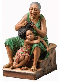 Mae and Malaika, the newest sculpture by Shelley Buonaiuto. Her work is joyous… African American Figurines, African American Art, African Art, Black Figurines, Natural Hair Art, Black Love Art, Black Artwork, Traditional Art, Female Art