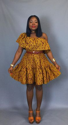 Thinking of what to wear on that warm summer evening or hot afternoon?Then this off shoulder is the perfect choice. Whether you are on a holiday or just relaxing after work;you cant go wrong a simple yet classic dress like this which is guaranteed to give you that timeless look you crave.  Made from 100 % authentic African wax print Very versatile can be styled in 3 different ways, as an off shoulder dress,as a Bardot dress and as a one hand/sleeve dress .