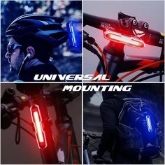 CANWAY Bike Tail Light, Ultra Bright Bike Light USB Rechargeable, LED Bicycle Rear Light, Waterproof Helmet Light, 5 Light Mode Headlights with Red & Blue for Cycling Safety Flashlight Light Bicycle Lights, Bike Light, Helmet Light, Bicycle Safety, Assault Pack, Desert Camo, Digital Camo, Cycling Equipment, Tail Light