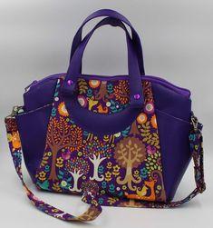 Purple woodland faux leather and cotton Annette satchel handbag