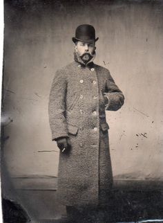 Vintage Tin Type Gentleman,Great Pose,Long Overcoat,Beard,Bolla Hat,Cigarette