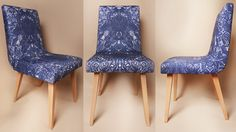Vintage chair - 60s & 70s - flowery ornament BLUE by DesignPolski on Etsy