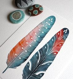 Feather Watercolor Painting - Modern Home Decor - Small Archival Print - 5x7 Luna Feathers via Etsy