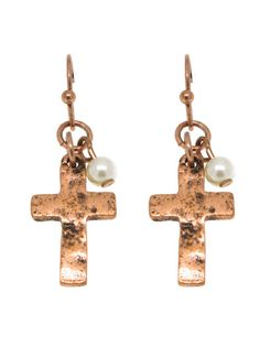 Burnished Copper & Pearl Cross Earrings #FreeShipping #jewelry #cross #earrings
