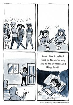 Now to reflect back on the entire day and all the embarrassing things I said . Debbie Tung (so true for me! Introvert Quotes, Introvert Problems, Infj Infp, Introvert Funny, The Awkward Yeti, Funny Quotes, Funny Memes, Quotes Quotes, Infp Personality