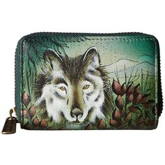 Anuschka Handbags 1110 (Western Wolf) Coin Purse ($51) ❤ liked on Polyvore featuring bags, wallets, western leather wallets, leather credit card holder wallet, leather change purse, credit card holder wallet and coin purse