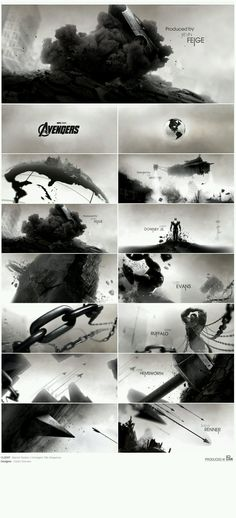 This graphic sequence is designed by designers from the Marvel Studio for 'Avengers'. In this graphic sequence we can see all the details clearly. Web Design, Creative Design, Graphic Design, Design Trends, Print Design, Art Of The Title, Title Sequence, Black And White Illustration, Visual Effects