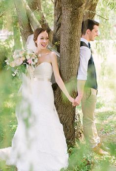 This bride looks so excited for her first look with her groom | @whenhefoundher | Brides.com