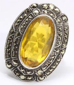 Vintage UNCAS USA Sterling Silver Art Deco Geometric Citrine Marcasite Ring 925