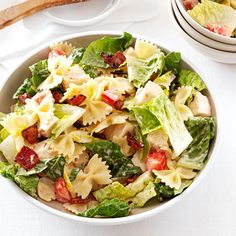 BLT Bow Tie Pasta Salad Recipe -I first had this summery salad at a family reunion, and it's become one of my husband's favorite dinners. Sometimes, we leave out the chicken and serve it as a side dish instead. —Jennifer Madsen, Rexburg, Idaho