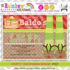557: DIY - Pancakes and Pajamas 2 Party Invitation Or Thank You Card on Etsy, $11.00