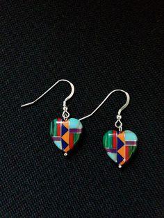 Zuni Tribal Inlaid Heart Earrings, redcreekspiritjewelry.com